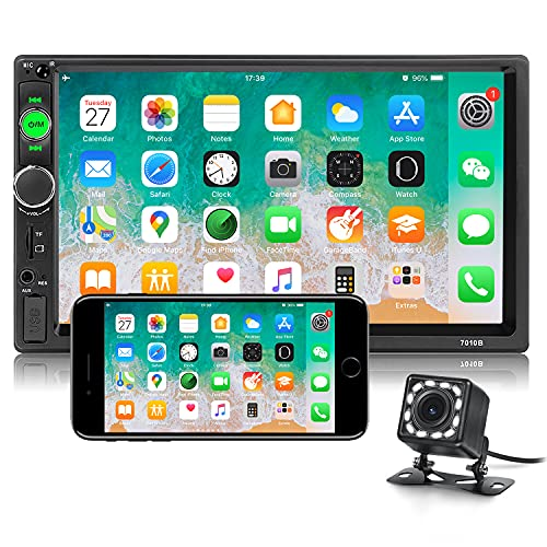 Double Din Bluetooth Car Stereo 7 inch HD Touch Screen Car Radio with Backup Camera Support Mirror Link for Android/iOS