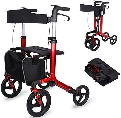 Rode 4 Wiel Rollator Walker met Mand, Senior Winkelwagen Trolley Ouderen Walker kopen Voedsel Wandelwagen Vouwen Aluminium Vierwielige Gezondheidszorg Rood
