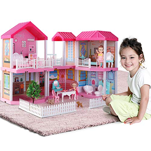 Temi Dollhouse Dreamhouse Building Toys Figure w/ Furniture, Accessories, Stairs, Pets and Dolls, DIY Cottage Pretend Play Doll House, for Toddlers, Boys & Girls(6 Rooms)