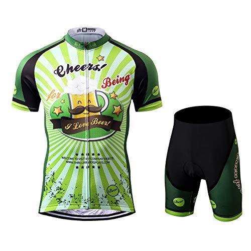 Thriller Rider Sports® Herren Cheers for Being Sport & Freizeit MTB Fahrradbekleidung Radtrikot und Kurze Hose Anzüge Large