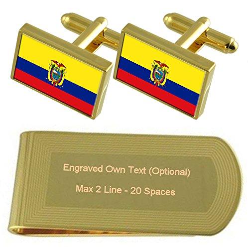 Ecuador Bandera tono Oro gemelos Money Clip grabado Set de regalo