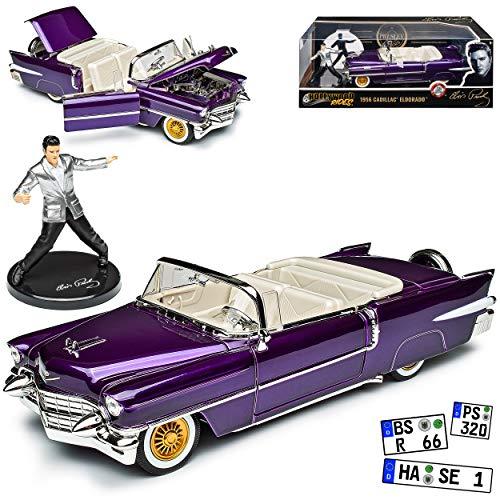Cadilac Eldorado Cabrio Violett mit Figur Elvis Presley 1/24 Jada Modell Auto mit individiuellem Wunschkennzeichen