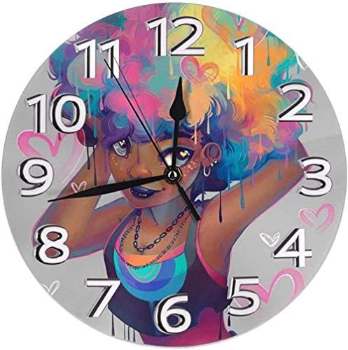 XXSCXXSC Reloj de Pared Afro Rainbow Hair Negro Mujeres Color Redondo Reloj de Pared para el hogar Relojes Decorativos silenciosos Que no Hacen tictac Funciona con Pilas