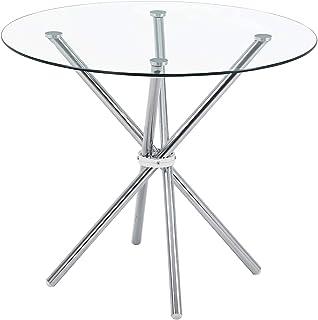 Table a Manger Ronde avec 4 Chaises Table de Salle à Manger Moderne en Verre Table de Cuisine Chaise en Cuir Chaise Scandi...