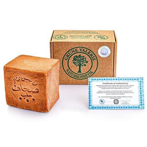Grüne Valerie® Original Aleppo Seife 200g+ mit 50% / 50% Lorbeeröl/Olivenöl Haarwaschseife/Duschseife PH Wert 8 Detox, Handarbeit -über 6 Jahre gereift, Bekannt aus dem Reformhaus!