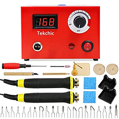 Tekchic Wood Burning Kit 23 Wire Tips Including Ball Tips, Wood Burning Tool 110V 50W Pyrography Machine Dual Wood Burner for Wood and Gourd -Red
