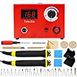 Tekchic Wood Burning Kit 21 Wire Tips Including Ball Tips, Wood Burning Tool 110V 50W Pyrography Machine Wood Burner for Wood and Gourd -Red