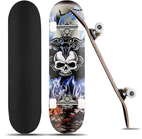 Skateboard Komplettboard31 x 8 Zoll für Kinder Jugendliche Erwachsene Anfänger, 9 Lagiger kanadischen Ahorn mit ABEC-7-Kugellagern hochelastischen PU-Rädern bis 100Kg unterstützt (Blau)