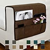 """Guken Sofa Armrest Organizer, Couch Arm Chair Caddy Storage with 6 Pockets for TV Remote Control,Magazine,Smart Phone,Books, iPad (Brown,19""""X25"""")"""