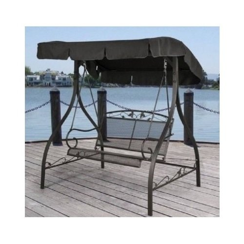 Outdoor Porch Swing Deck Furniture with Adjustable Canopy Awning. Weather Resistant Wrought Iron Metal Frame. Similar to A Porch Glider the Bench Provides Spacious Chair Seating for 2 (1)
