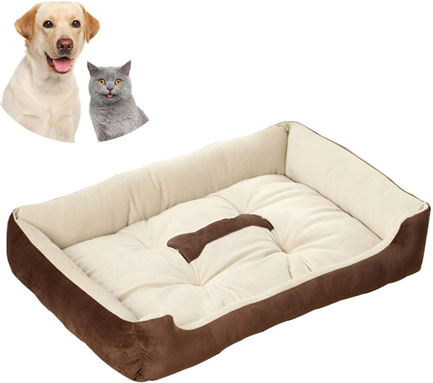 Dog Bed Washable, Cat Bed Pet Bed 60  45 cm Small Pet Bed Mattress Pillow Cushion Soft Warm Prime Cotton Bed with Cute Bone Image(S)