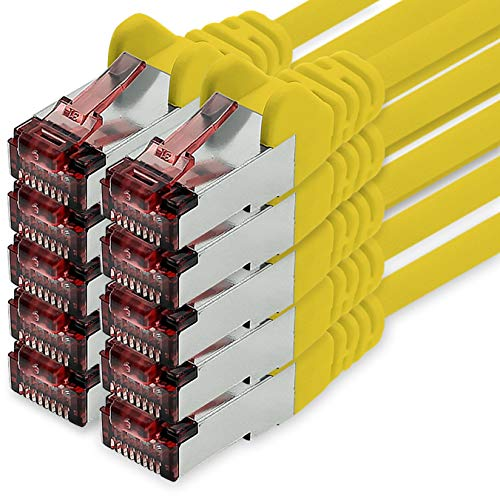 Cat6 Netzwerkkabel 1m gelb - 10 x Patchkabel LAN Cat 6 LAN Netzwerk Kabel Sftp Pimf Lszh Kupfer 1000 Mbit s