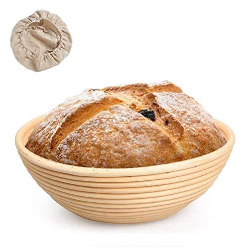 Amosch Gärkorb Gärkörbchen Brotteig Gärkörbe Korb Brotform Peddigrohr, Brotkorb, Handgefertigter Rattan-Korb, Bread Proofing Proving Basket, Bambus-Teigkörbe mit Leinen, für Banneton-Brotbacken
