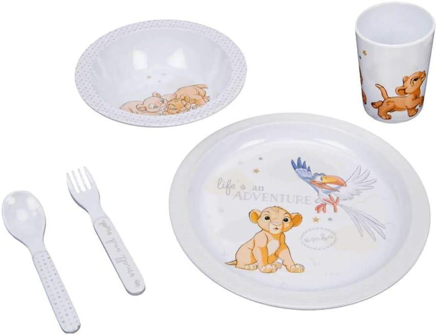 Disney Lion King Simba Kids Dinnerware Toddler Dinner Set Plate, Bowl, Flatware & Cup in Melamine