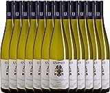VINELLO 12er Weinpaket Weißwein - Chardonnay & Weißburgunder 2019 - Knipser mit Weinausgießer | trockener Weißwein | deutscher Sommerwein aus der Pfalz | 12 x 0,75 Liter