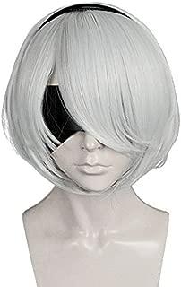 Anogol Hair Cap+Bob Cosplay Wig Grey Short Straight Synthetic Hair Costume Fancy Dress Halleween Wigs
