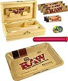RAW Mini Plateau à Rouler en métal – Boîte en Bois Moyenne 155 x 85 x 48 mm + 3 x 32 Feuilles RAW KS Slim + 2 x 50 Pointes de Filtre RAW + Tube Buddies 120 mm Multicolore + Bouton Rasta