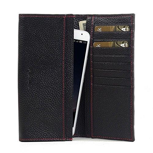PDAir MEIZU PRO 5 Leder Brieftasche Folio Handy Hülle (Schwarzes Kieselleder/roter Stich), Echtleder Brieftasche Telefon Hülle Tasche Kreditkarte Halter, Continental Brieftasche für MEIZU PRO 5