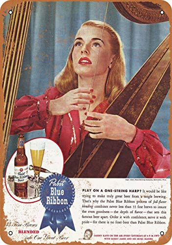 AMELIA SHARPE Vintage Retro Collectible tin Sign - 1945 Pabst Beer One String Harp -Wall Decoration 12x8 inch Poster Home bar Restaurant Garage Cafe Art Metal Sign Gift