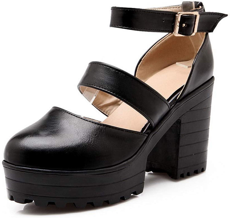 BalaMasa Womens Casual Solid Platform Urethane Pumps shoes APL10552
