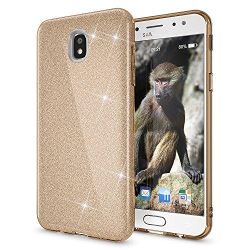 NALIA Custodia compatibile con Samsung Galaxy J7 2017 (EU-Model), Glitter Silicone Case Protezione Sottile Cellulare, Slim Cover Telefono Protettiva Scintillio Bumper, Colore:Gold Oro