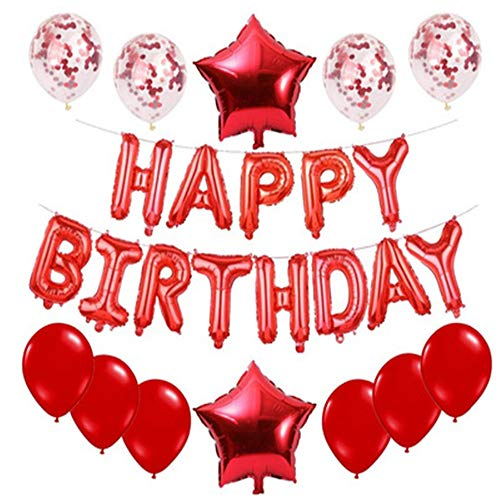 Hey Shop 15,2 cm Happy Birthday Aluminiumfolie Buchstaben-Set Ballon Runde Pailletten fünfzackiger Stern Ballon Party Dekoration, rot, 1 set