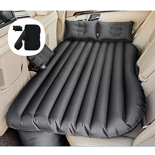 Baeoy Car Travel Air Bed Oxford Cloth Thickened Rear Seat Car Shock Bed Car Inflatable Bed SUV Car Air Bed Car Inflatable Bed Best Partner for Outdoor Camping (Color : Black)