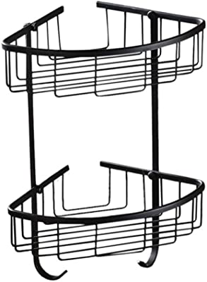 バスルームシャワーキャディーブラックブラスバスルーム三脚シャワールームラックヨーロピアンダブルレイヤーシントライアングルバスケットシェルフ