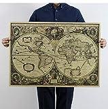 Papel Kraft/Cartel de barra/Cartel retro / 1641 Carta náutica antigua Mapa mundial Mapa de la tierra 72.5X51.5Cm / Pintura decorativa