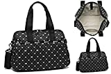 LeSportsac Love Me Most Harper Convertible Crossbody & Top Handle Tote Handbag/Carry-on, Style 3356/Color F517, Modern Multi-Color Hearts & Dots on Classic Black Bag