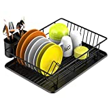Dish Drying Rack, Veckle Sink Side Dish Rack with Drainboard Cutlery Utensil Holder Dish Drainer Wire Rack for Kitchen Countertop, Black