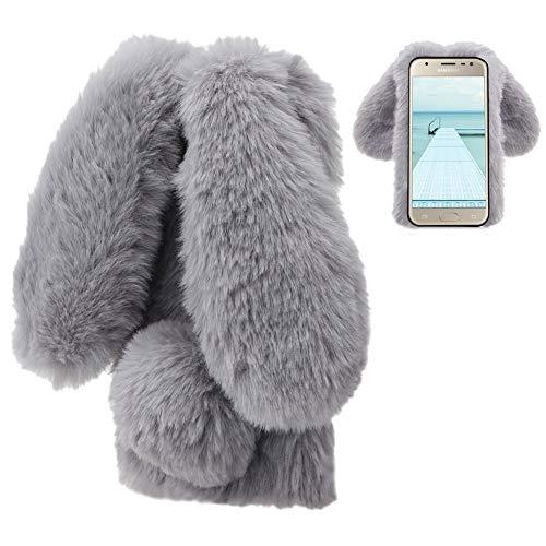 LCHDA kompatibel mit Plüsch Hülle Samsung Galaxy J6 2018 Flauschige Hasen Fell Hülle Handyhülle Mädchen Süße Kaninchen Pelz Niedlich Hasenohren Handytasche Schützend Stoßfest TPU Silikonhülle-Grau