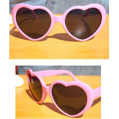 Nouveau cœur d'amour style cadre plastique lentilles rétros lunettes de soleil(Rose)