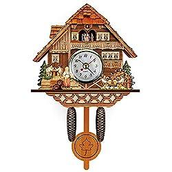 Elneeya Black-Forest Cuckoo Clock Cuckoo Wall Clock with Moving Retro Nordic Style Wooden Wall Swinging Pendulum Art Home Living Room Kitchen Office Decoration