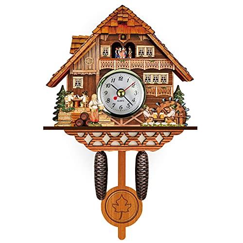 Reloj de cuco de la Selva Negra con tren móvil para decoración del hogar (multicolor)