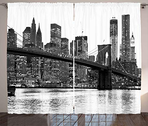 """Ambesonne Modern Curtains, Brooklyn Bridge Sunset with Manhattan American New York City Famous Town Image, Living Room Bedroom Window Drapes 2 Panel Set, 108"""" X 108"""", Black White"""