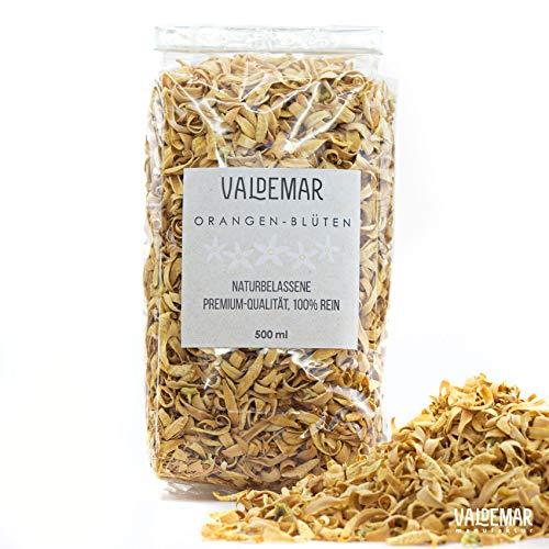 Valdemar Manufaktur Premium essbare ORANGENBLÜTEN, 500ml (Neroli-Blätter) - HANDVERPACKT In Deutschland