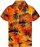 King Kameha - Camisa hawaiana para hombre, manga corta, bolsillo frontal, estampado hawaiano Surf Orange XXXXL