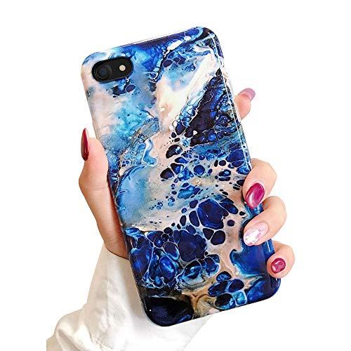 Oihxse Mode Chic Case Compatible pour iPhone 7+ Plus/8+ Plus 5.5'' Coque Silicone Marbre Brillant Glitter Souple Etui Ultra Mince Motif Elegante Anti-Rayures Antichoc Protection Cover,Bleu Marin
