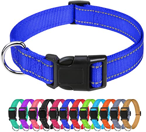 TagME Collar Perro Ajustable,Collar Nylon Reflectante,para Caminar Correr Entrenamiento,para Perros Medianos,Azul Marino,2.5cm De Ancho