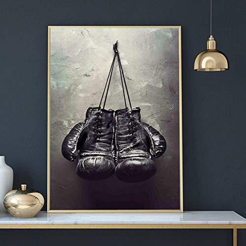 OCRTN Vintage Art Boxhandschuhe Poster Druck auf Leinwand Schwarz-Weiß-Wandbild Sportgemälde für Wohnzimmer Wohnkultur - 40x60cm (kein Rahmen)