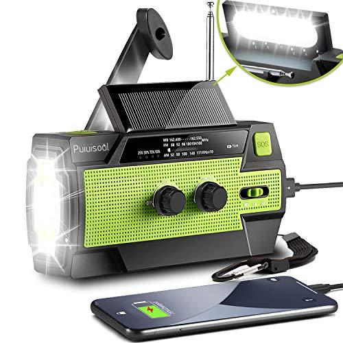 2021 Newest EmergencyHandCrankRadio4000mAh Portable Weather Solar Radios with Motion Sensor Reading Lamp3 Gear LED FlashlightSOS AlarmCell Phone ChargerAM/FM/NOAA Green