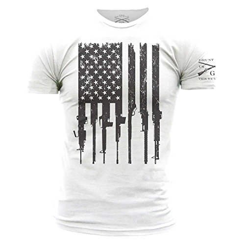 Grunt Style Rifle Flag Men's T-Shirt, Color White, Size XXL