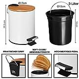 VMbathrooms 3L Kosmetikeimer in edlem weißem Design/Tretmülleimer mit Absenkautomatik (Soft Close) / Eleganter Eimer fürs Bad mit Innenbehälter und Bambus-Holzdeckel - 4