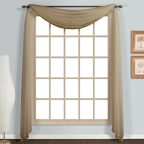 Amari Linen One PC Solid Sheer Window Scarf/Valance/Swag/Treatment (37x216, Taupe)