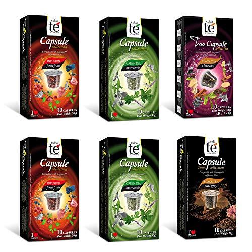 CUIDA TÉ - Té Cápsulas Nespresso, Compatibles con Máquinas Nespresso, 60 Cápsulas Té para Nespresso