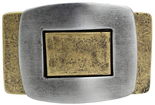 Brazil Lederwaren Gürtelschnalle Bicolors 4,0 cm | Buckle Wechselschließe Gürtelschließe 40mm Massiv | LARP- und Mittelalter-Outfit | bicolor g/s