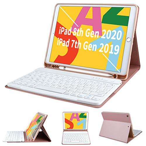 Funda con Teclado para iPad de 7ª generación 2019 para iPad de 10,2 Pulgadas - COO Teclado Bluetooth inalámbrico Desmontable - Soporte para lápiz Integrado - Cubierta de Apagado automático