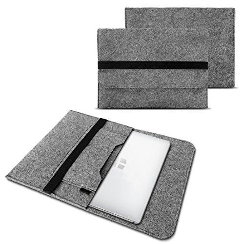 NAUC Notebook Sleeve Hülle für TrekStor SurfTab Twin 11.6 Case Ultrabook Cover Tasche Filz, Farben:Hell Grau