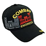 U.S. Military Official Licensed Embroidery Hat Army Navy Veteran Baseball Cap (Combat Engineer-Black)